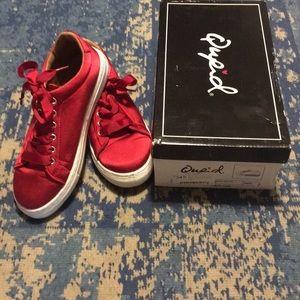 Qupid satin red ribbon sneakers